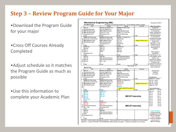 Step 3 – Review Program Guide for Your Major