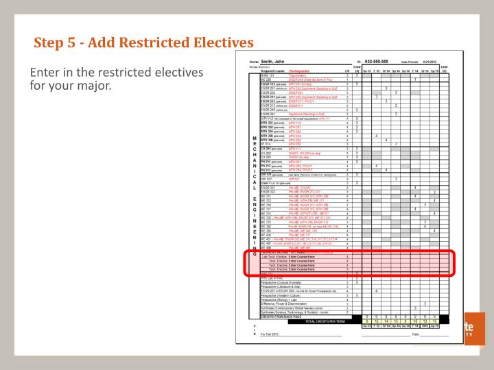 Step 5 - Add Restricted Electives