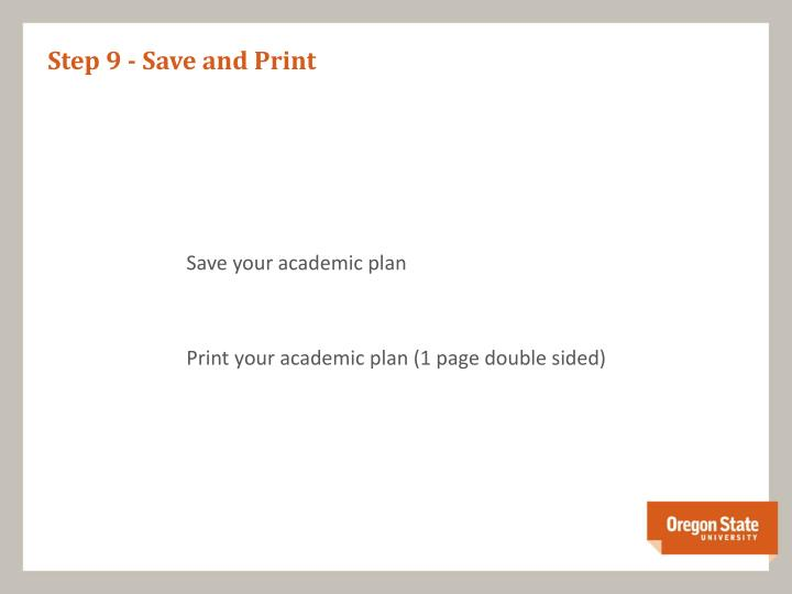 Step 9 - Save and Print