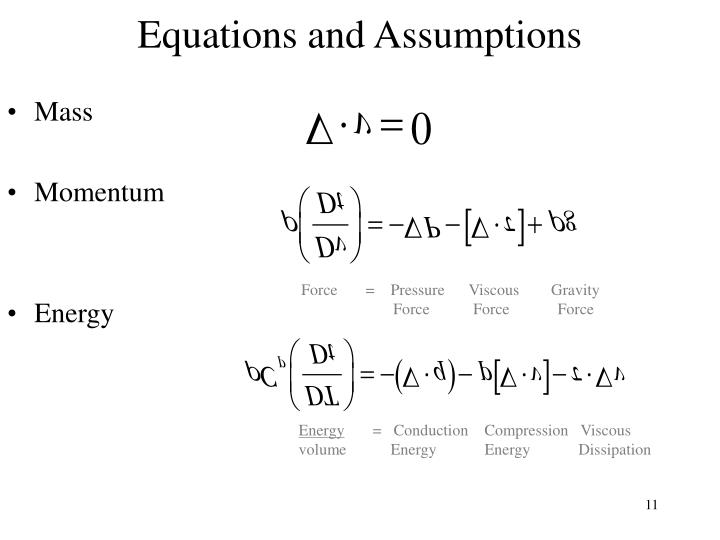 Equations and Assumptions