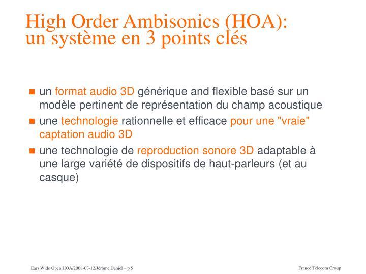 High Order Ambisonics (HOA):