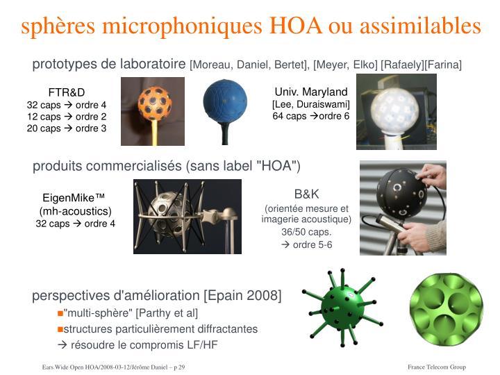 sphères microphoniques HOA ou assimilables