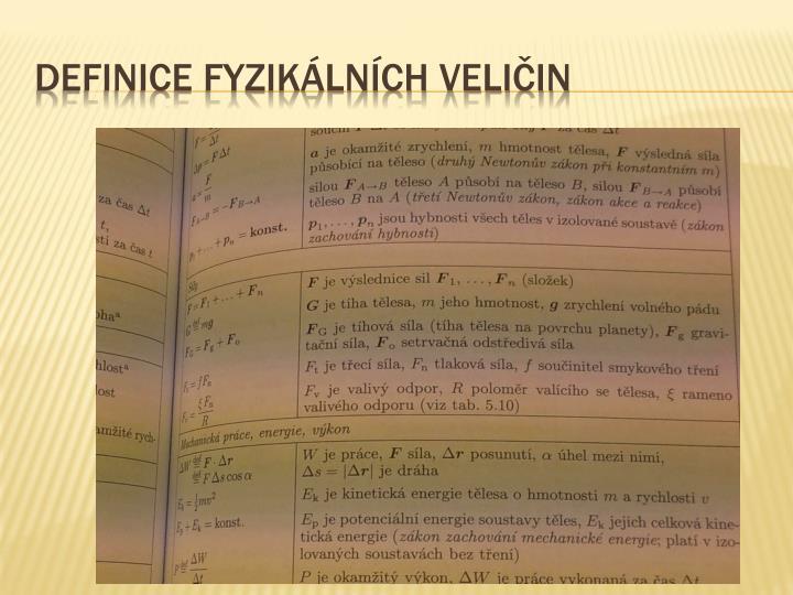 Definice fyzikálních veličin