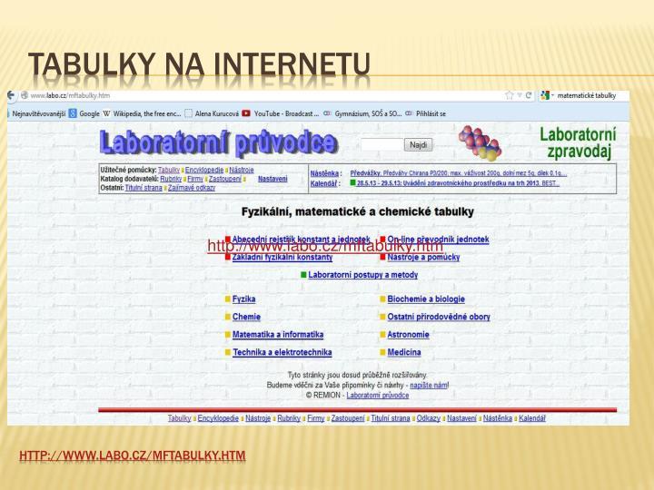 Tabulky na internetu