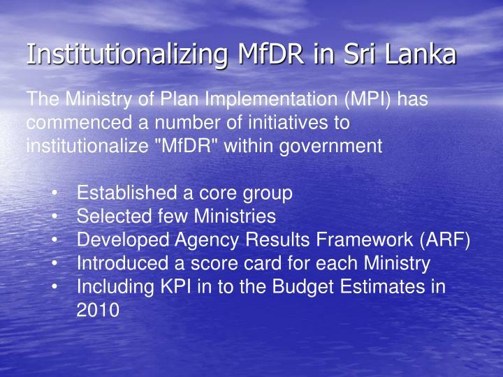 Institutionalizing MfDR in Sri Lanka