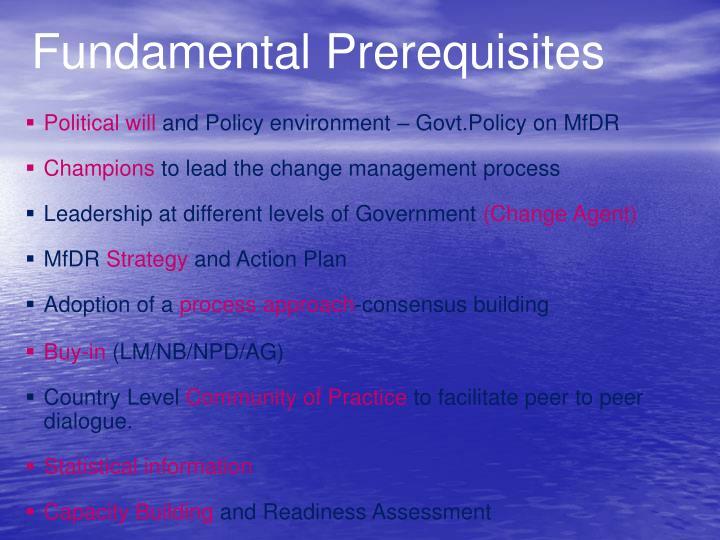 Fundamental Prerequisites