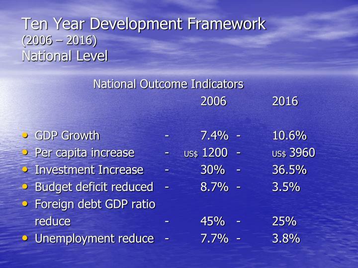 Ten Year Development Framework