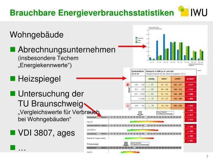 Brauchbare Energieverbrauchsstatistiken