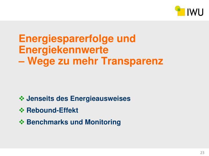 Energiesparerfolge und Energiekennwerte