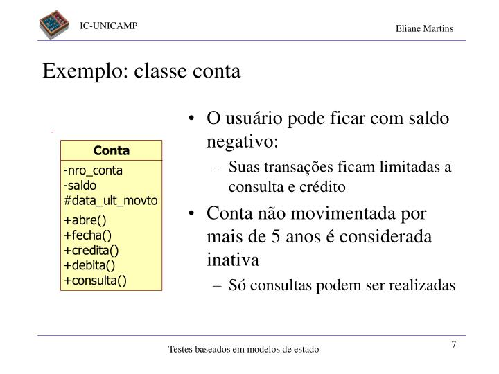 Exemplo: classe conta
