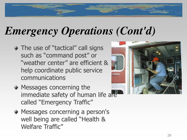 Emergency Operations (Cont'd)