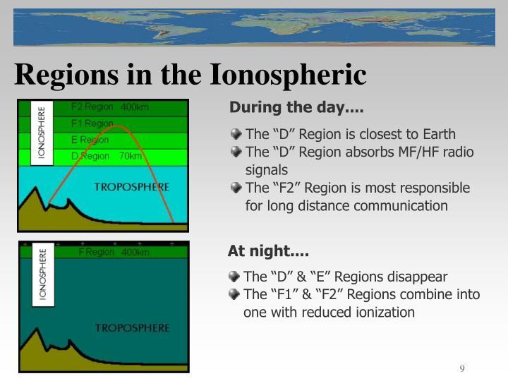 Regions in the Ionospheric