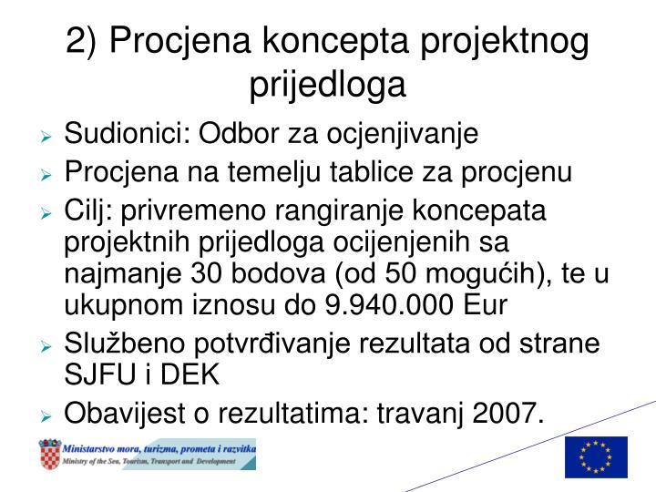 2) Procjena koncepta projektnog prijedloga