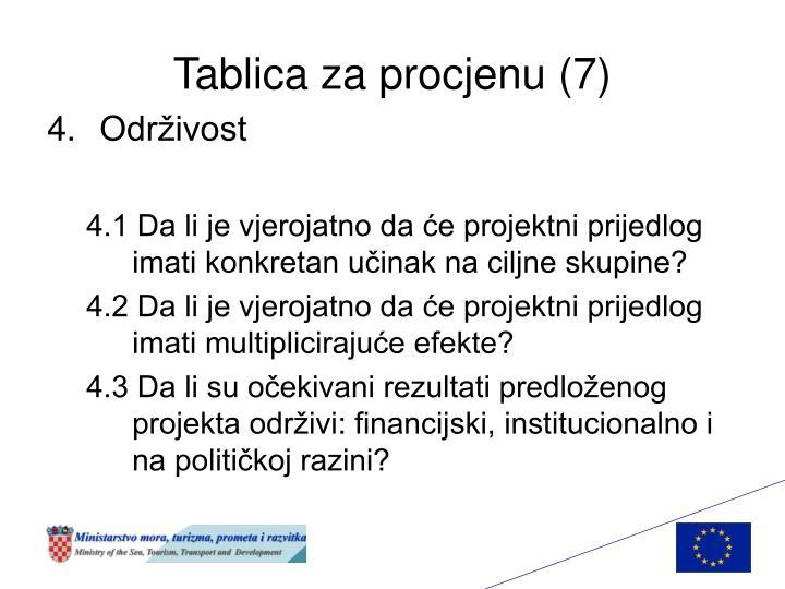 Tablica za procjenu (7)