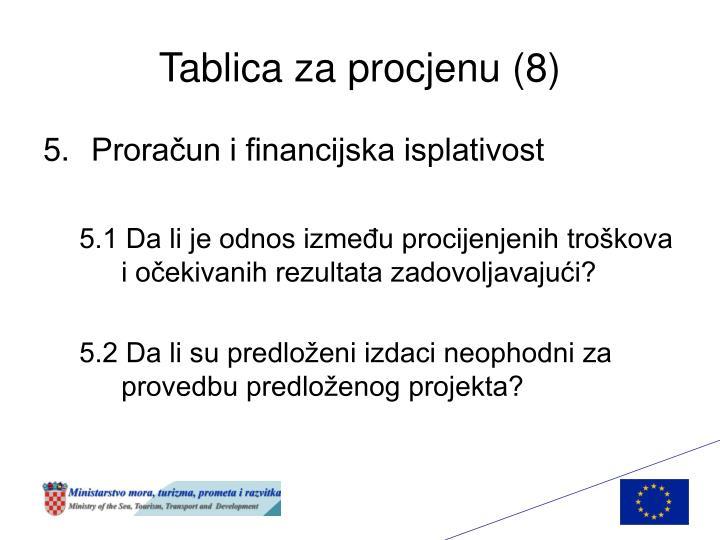 Tablica za procjenu (8)