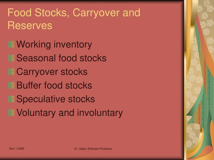 Food Stocks, Carryover and Reserves