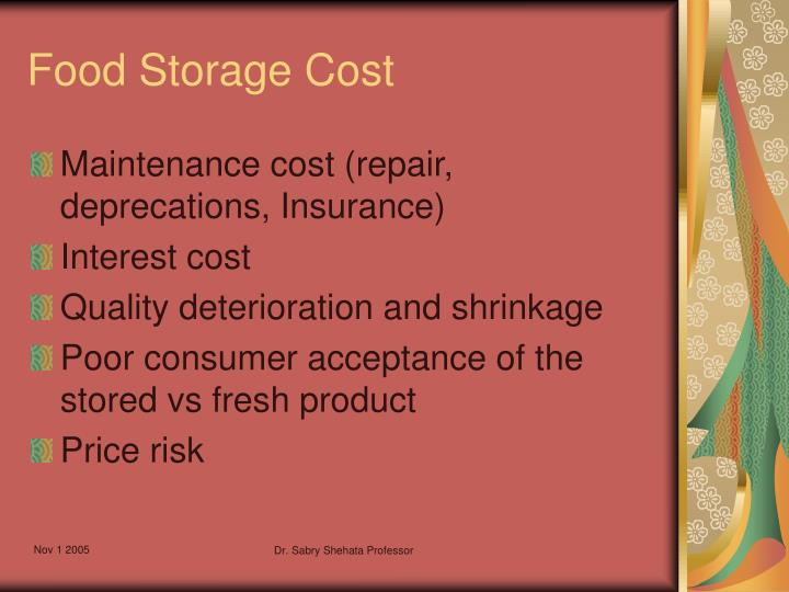 Food Storage Cost