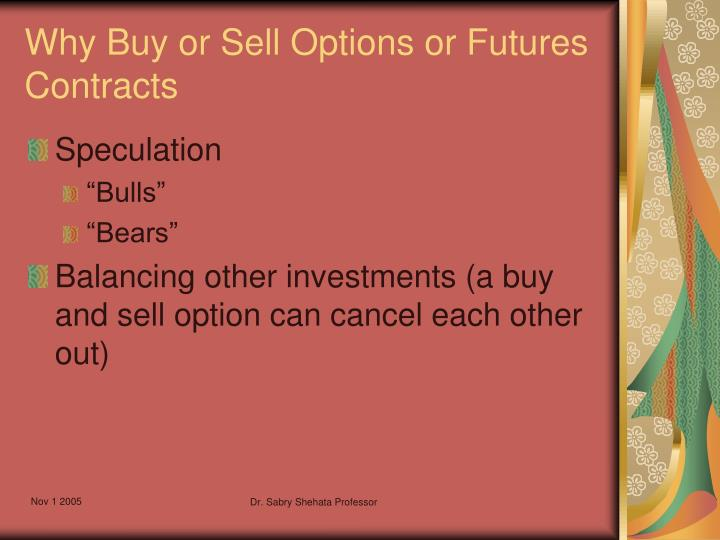 Why Buy or Sell Options or Futures Contracts
