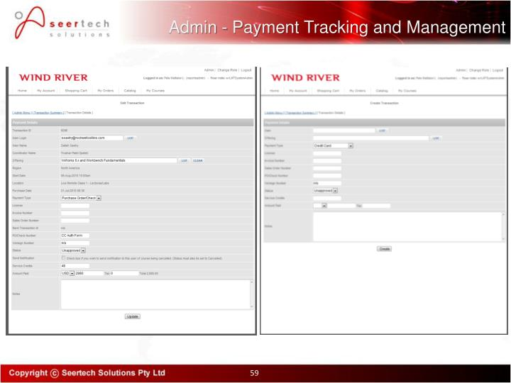 Admin - Payment Tracking and Management