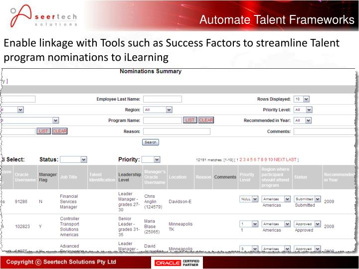 Automate Talent Frameworks