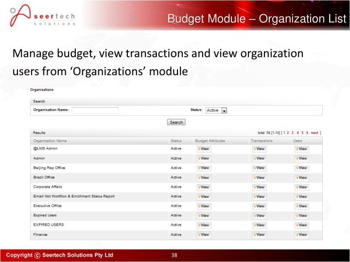 Budget Module – Organization List