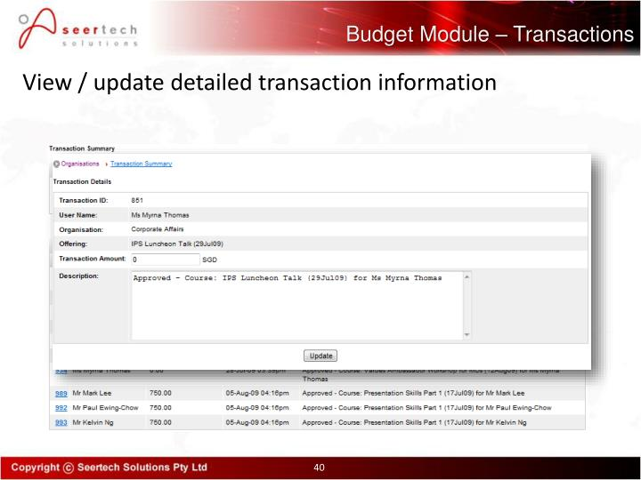 Budget Module – Transactions