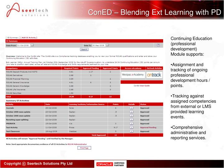 ConED – Blending Ext Learning with PD