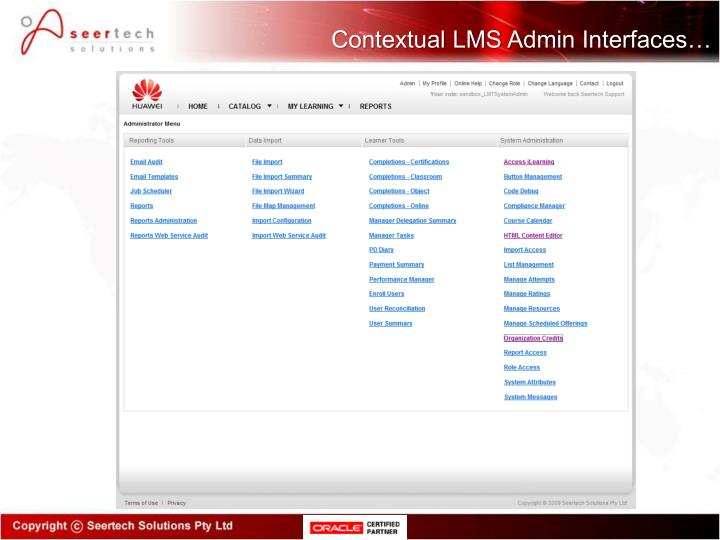 Contextual LMS Admin Interfaces…