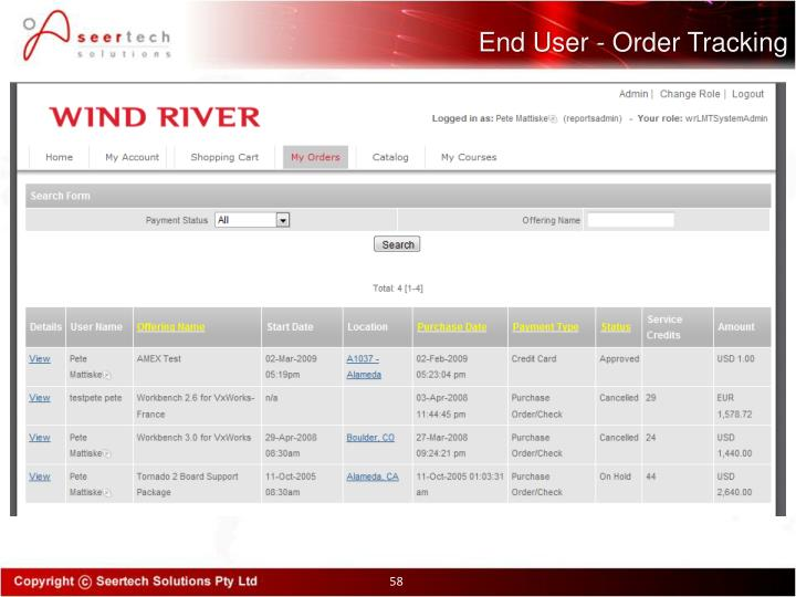 End User - Order Tracking