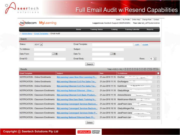 Full Email Audit w/Resend Capabilities