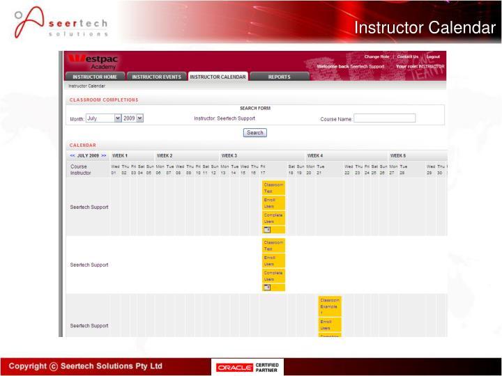 Instructor Calendar