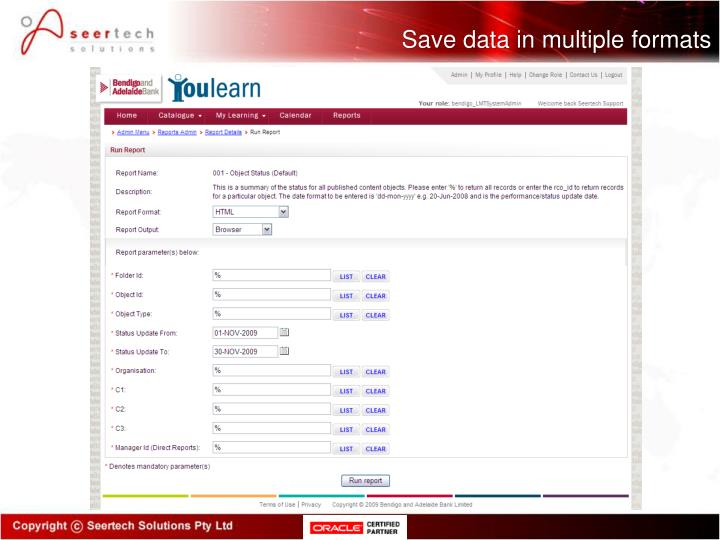 Save data in multiple formats