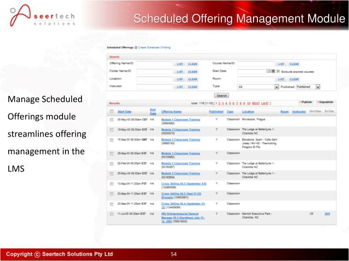 Scheduled Offering Management Module