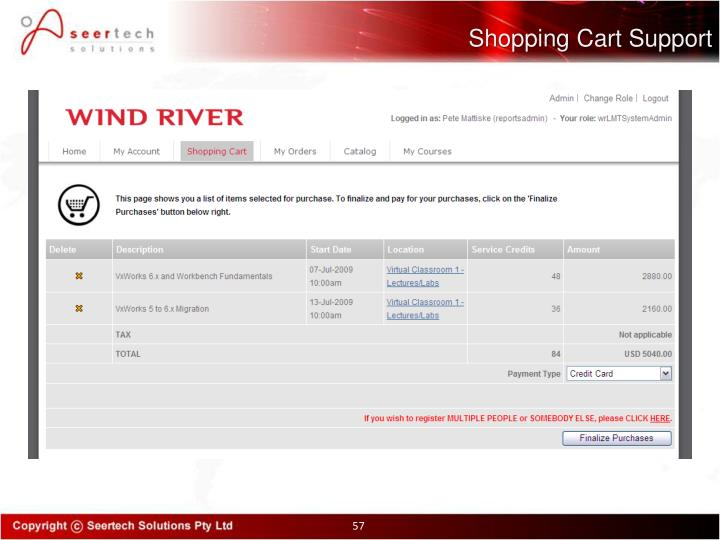 Shopping Cart Support