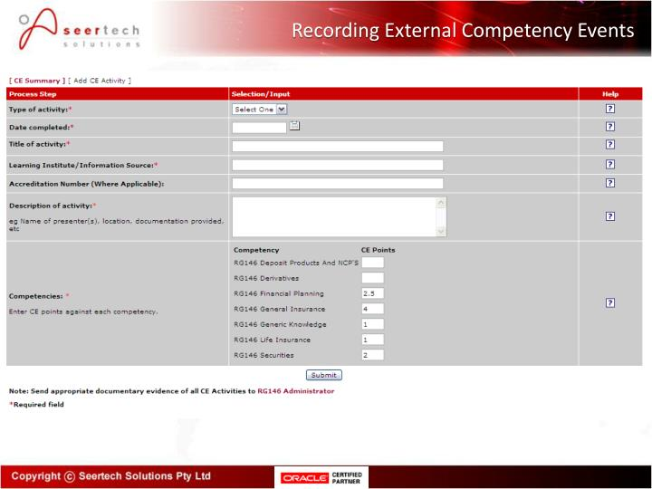Recording External Competency Events