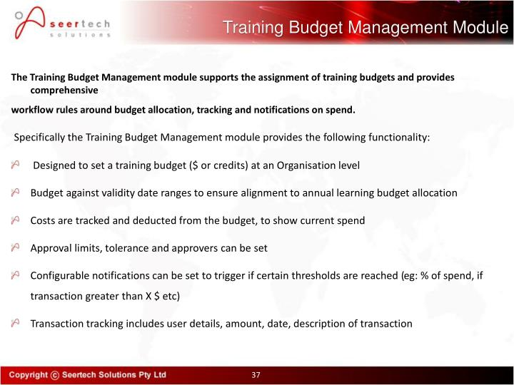 Training Budget Management Module