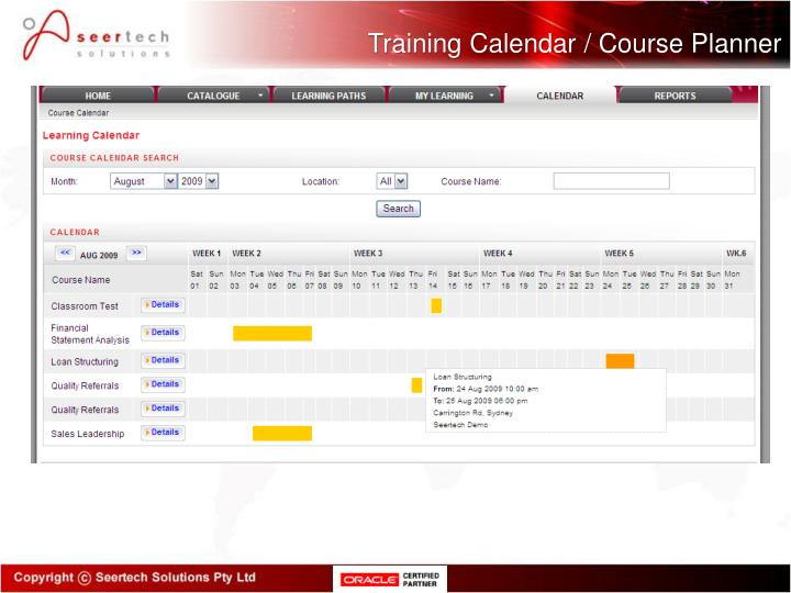 Training Calendar / Course Planner
