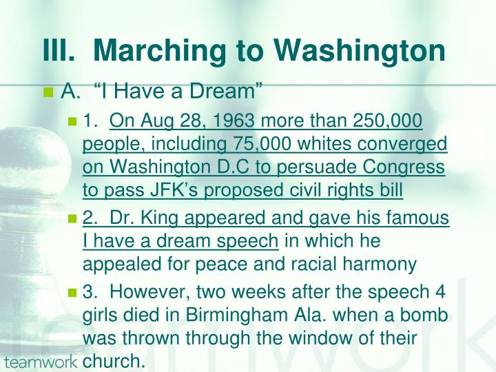 III.  Marching to Washington