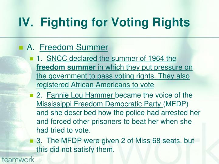 IV.  Fighting for Voting Rights