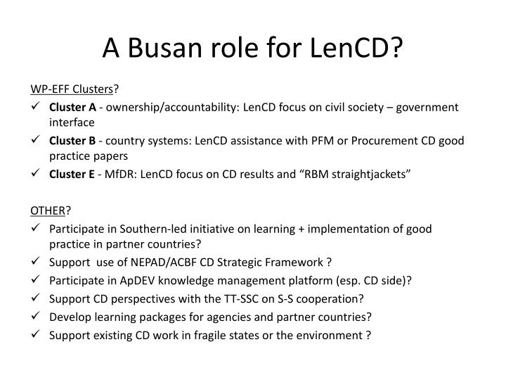 A Busan role for LenCD?
