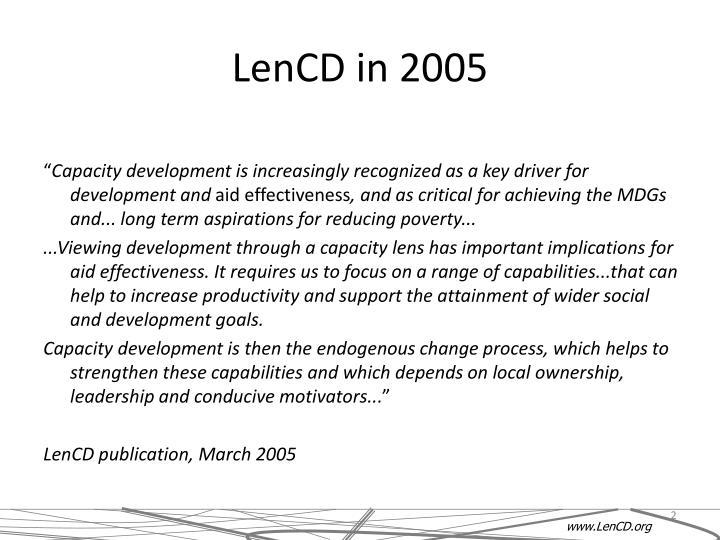 LenCD in 2005