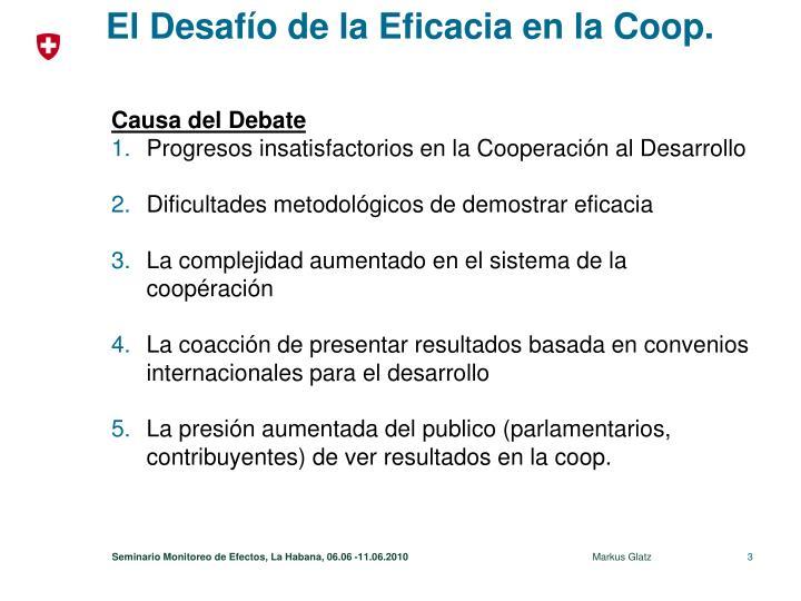 El Desafío de la Eficacia en la Coop.