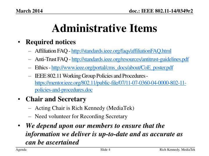 Administrative Items