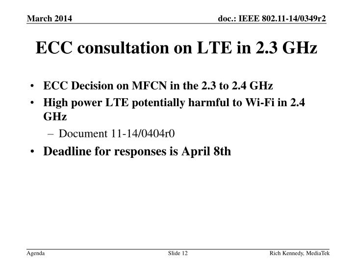 ECC consultation on LTE in 2.3 GHz