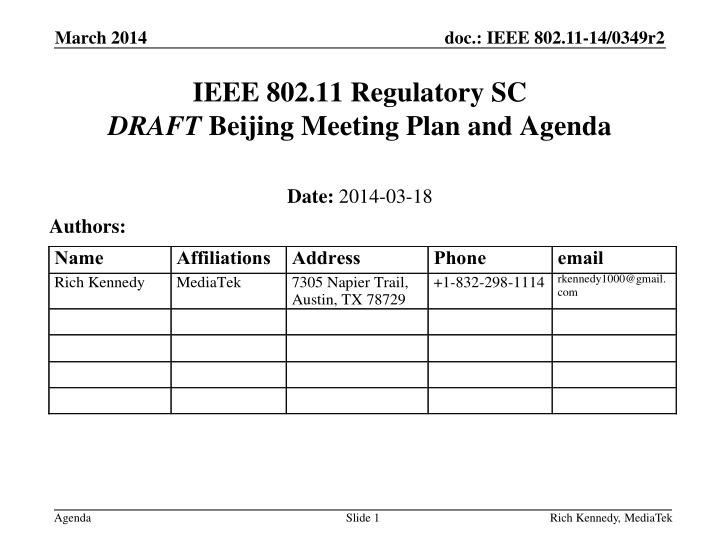 Ieee 802 11 regulatory sc draft beijing meeting plan and agenda