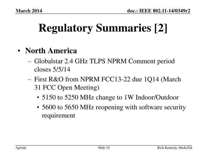 Regulatory Summaries [2]