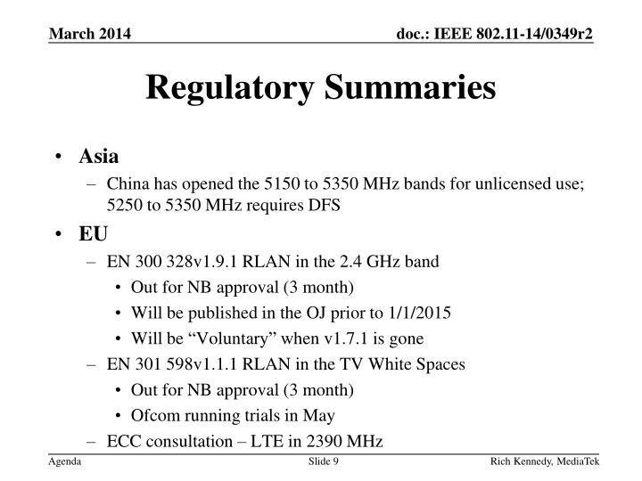 Regulatory Summaries
