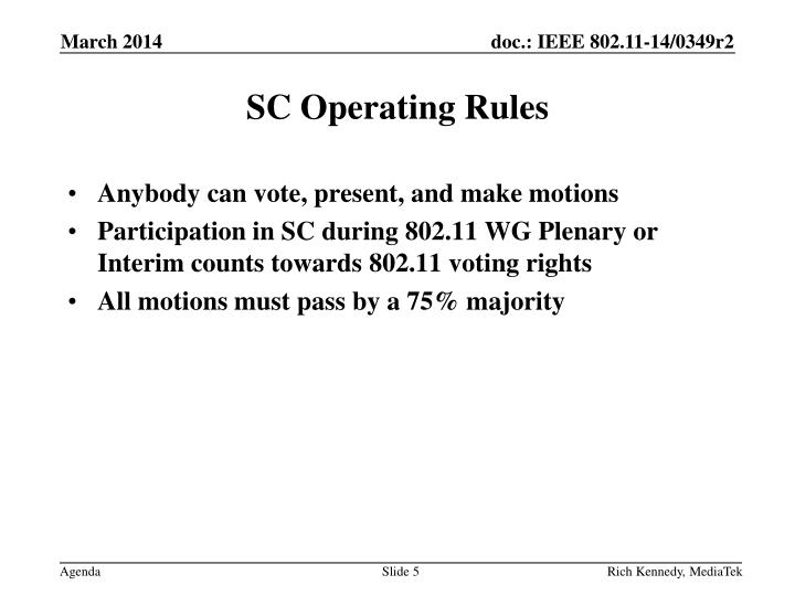 SC Operating Rules