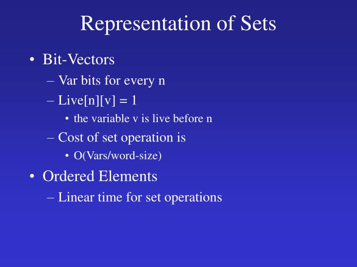 Representation of Sets