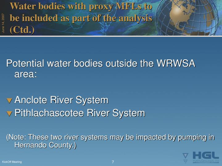 Water bodies with proxy MFLs to be included as part of the analysis (Ctd.)